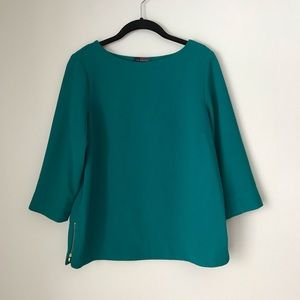 Turquoise 3/4 sleeve blouse with zipper accent